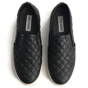 Steve Madden Black Quilted Slip On Ecentrcq Shoes